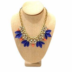 Stella & Dot Leather Leaves & Rhinestone Necklace